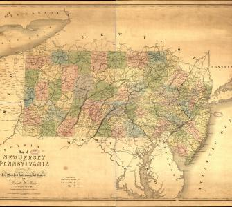 Map of New Jersey and Pennsylvania Exhibiting the Post Offices, Post Roads, Canals, Rail Roads, &c., by David H. Burr, 1839