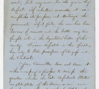 Handwritten Final Report of the Joint Committee on Reconstruction, ca. 1865–1866
