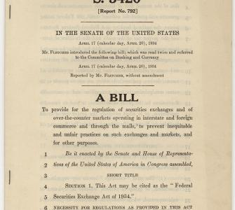 S. 3420, A Bill to provide for the regulation of securities exchanges (Federal Securities Exchange Act of 1934), April 17, 1934