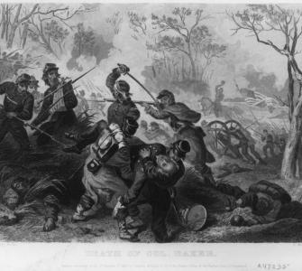 Death of Colonel Baker, steel engraving for Hurlbut Williams & Co., ca. 1862