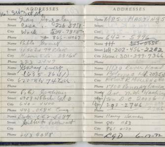 Address book of Watergate burglar Bernard Barker, June 18, 1972