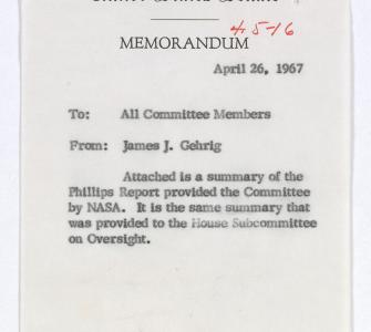 Memorandum to all committee members from James J. Gehrig, April 26, 1967 Summary of the Phillips Report, April 15, 1967