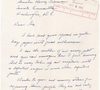Letter from Mrs. G. K. Sparber to Senator Harry Truman, October 6, 1943