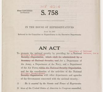 S. 758, National Security Act of 1947, July 10, 1947