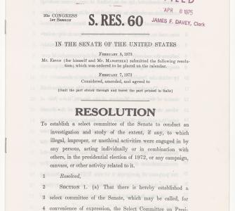 S. Res. 60, Resolution to establish a select committee, February 7, 1973