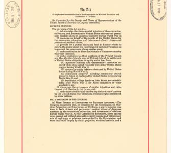 Civil Liberties Act of 1988, August 11, 1988