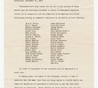House Committee on Un-American Activities press release for a hearing on communist influences in the motion picture industry, September 19, 1947