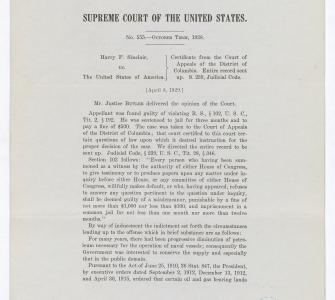 Sinclair v. United States, Supreme Court of the United States, No. 555, October Term-1928, slip opinion, April 8, 1929