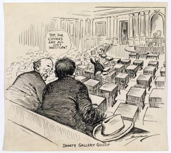 """Senate Gallery Gossip—Yep, the Others are All Out Investigatin'!"" cartoon by Clifford Berryman, March 6, 1924"
