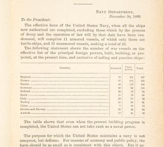 Report of the Secretary of the Navy to Congress, by Secretary of the Navy Benjamin F. Tracy, October 15, 1889