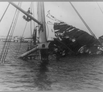 USS Maine wreckage in Havana Harbor, Cuba, photograph, 1898
