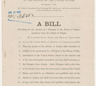 S. 956, A Bill providing for the election of a Delegate to the House of Representatives from the district of Alaska, December 7, 1905