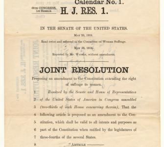 H.J. Res. 1, Joint Resolution proposing an amendment to the Constitution extending the right of suffrage to women, May 28, 1919