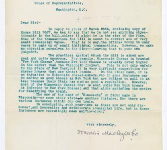Letter from Franklin MacVeagh & Co. to Representative James R. Mann, March 29, 1900