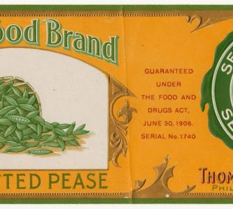 Pure Food Brand Garden Grown Sifted Pease food label, ca. 1906