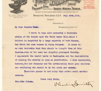 Letter from Oberlin Smith to Senator John W. Kern of Indiana, July 20, 1916