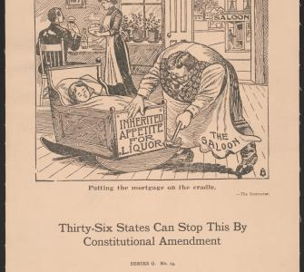 Putting the Mortgage on the Cradle, poster by The American Issue Publishing Co., 1917