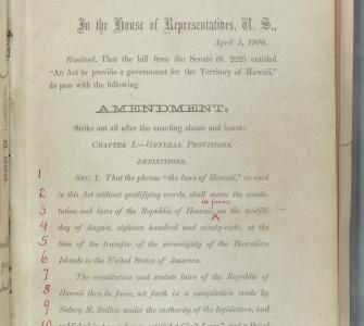 House of Representatives amendment to S. 222, An Act to provide a government for the Territory of Hawaii (Organic Act of 1900), April 5, 1900