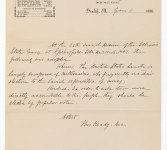 Petition from the Patrons of Husbandry, State Grange of Illinois, January 1, 1898