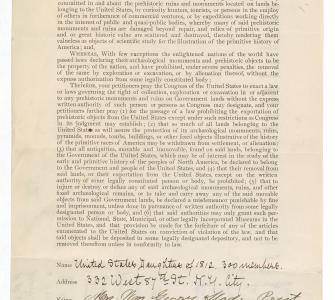 Petition from 300 members of the United States Daughters of 1812, February 10, 1904