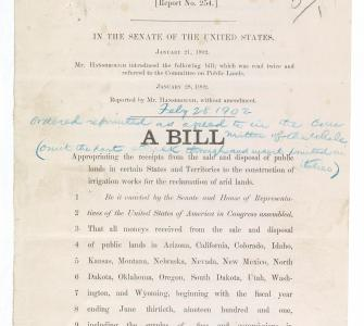 S. 3057, A Bill appropriating the receipts from the sale . . . of public lands . . . for the reclamation of arid lands (Newlands Reclamation Act), February 28, 1902