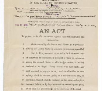 S. 1, An Act to protect trade and commerce against unlawful restraints and monopolies (Sherman Antitrust Act), May 13, 1890