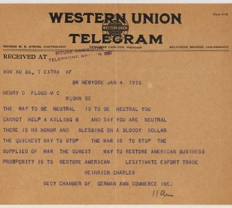Telegram from Heinrich Charles