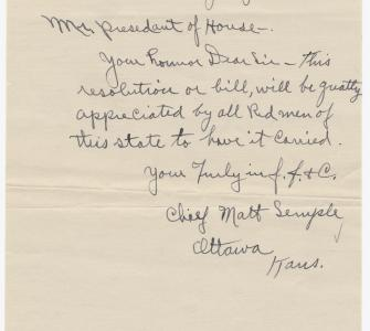 Letter from Chief Matt Semple to Mr. President of the House, July 14, 1919