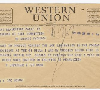 Telegram to the Chairman, G.I. Bill Committee, May 20, 1944