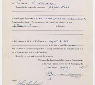Summons from the U.S. House of Representatives Un-American Activities Committee (HUAC) to Alger Hiss
