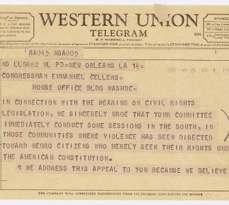 Telegram from Rev. Martin Luther King Jr.