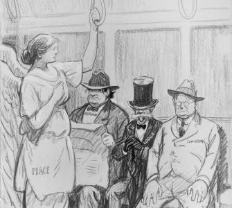 Refusing to Give the Lady a Seat, drawing by Rollin Kirby, ca. 1919