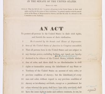 S. 61, An Act to protect all persons in the United States in their civil rights, and furnish the means of their vindication (Civil Rights Act of 1866), March 13, 1866
