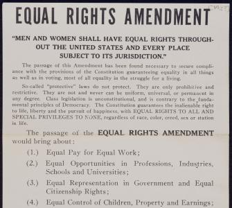 National Women's Party Handbill for the Equal Rights Amendment