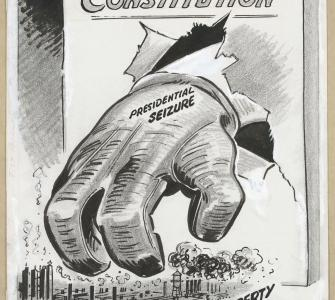 """Iron-fisted Breach,"" drawing by Jerry Costello, Knickerbocker News, April 23, 1952"