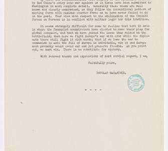 Copy of letter from General Douglas MacArthur to Representative Joseph William Martin Jr. of Massachusetts, March 20, 1951