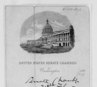 Memorandum from Senator Charles Sumner of Massachusetts to Secretary of War Edwin M. Stanton, February 21, 1868
