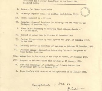 Chronology of Efforts Made by Senator McCarthy . . . to Put Pressure on the Army . . . , by John Adams, March 11, 1954