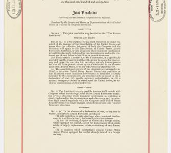 War Powers Resolution, November 7, 1973