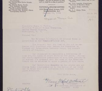 Letter from Mary McLeod Bethune to Representative James S. Parker, January 28, 1926