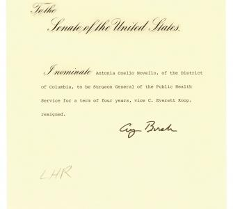 President George Bush's Nomination of Antonia Coello Novello to be Surgeon General, January 23, 1990