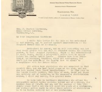 Letter from Mrs. Mae C. Mitchell opposing the Sheppard-Towner Maternity and Infancy Protection Bill
