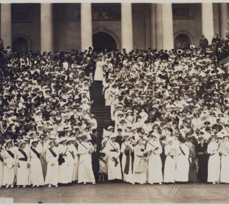 Photograph of delegations of women in support of woman suffrage on east Capitol steps, May 9, 1914