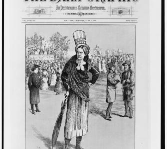 """The Woman Who Dared"" cover illustration by Thomas Wust (of Susan B. Anthony) for The Daily Graphic, June 5, 1873"