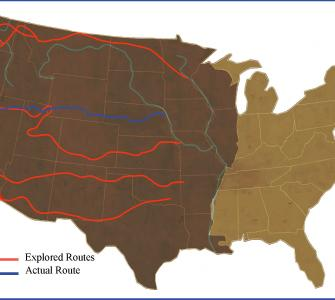 Proposed routes and selected route for the U.S. Pacific Railroad