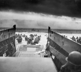 Into the Jaws of Death, photograph of D-Day, Normandy Landing, by Robert F. Sargent, June 6, 1944