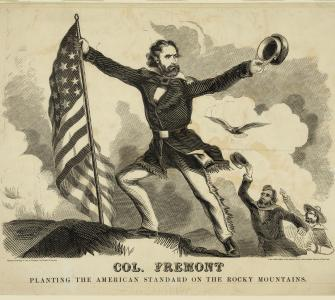 Col. Frémont planting the American Standard on the Rocky Mountains, wood engraving by Baker & Godwin, ca. 1856