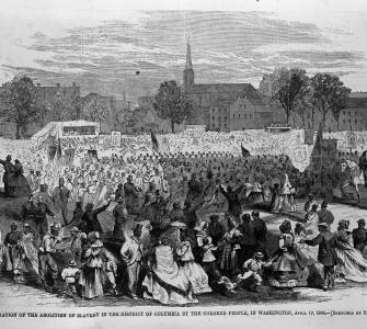 """Celebration of the abolition of slavery in the District of Columbia, . . . April 19, 1866,"" wood engraving by Frank Dielman, Harper's Weekly, May 12, 1866"