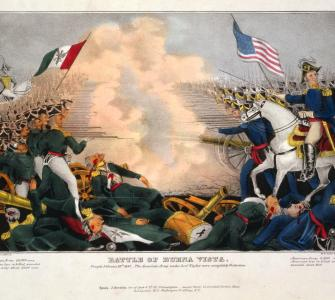 Battle of Buena Vista, color lithograph by J. Baillie, ca. 1847