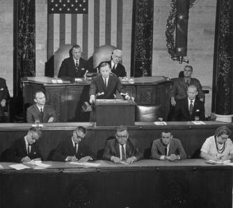 Astronaut Neil Armstrong addresses a Joint Session of Congress, September 16, 1969